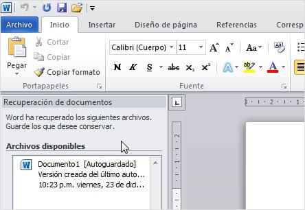 La Ventana de Recuperación de Documentos en acción