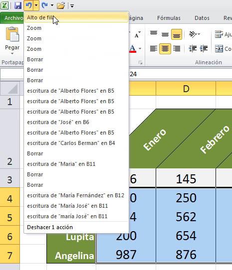 Usando los comandos deshacer, rehacer y repetir Excel 2010