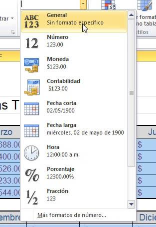 Mostrando la lista de formato numérico Excel 2010
